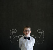 Boy businessman with chalk healthy strong arm success muscles Stock Image