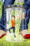 Boy in a jar character cartoon style  illustration Stock Photography