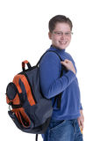 Boy Student. A young boy ready for school. Isolated on white Stock Photo