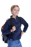 Boy Student. A young boy ready for school. Isolated on white Stock Images
