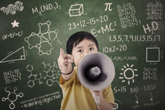 Boy student announce with speaker at class royalty free stock images