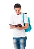 Boy student with backpack and notepad. Isolated on white background Stock Photos