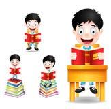 Boy Student Character Reading Books Vector Illustration Stock Photo