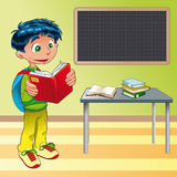 Boy, student in the classroom stock illustration