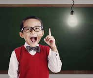 Boy student giving idea at school Royalty Free Stock Image