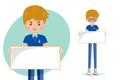 Boy student holding an empty banner royalty free illustration