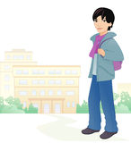 Boy student. Illustration of a cute asian boy student at the school Royalty Free Stock Photo