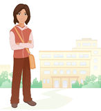 Boy student. Illustration of a cute brunet boy student at the school Royalty Free Stock Images