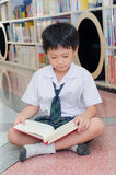 Boy student reading book in library Royalty Free Stock Photography