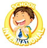 Boy student on school logo design Royalty Free Stock Photo