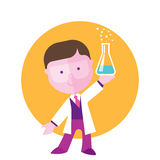 Boy student studying chemistry. On a yellow background, flat illustration Royalty Free Stock Photo