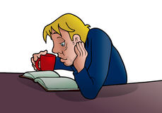 Boy study. Illustration of  a boy study hard and reading a book Stock Photography
