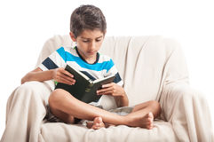 Boy study book isolated white Royalty Free Stock Images