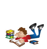 Boy studying. Cartoon boy studying isolated on white background with copy space Stock Photo