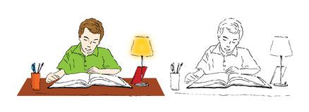 Boy studying. Illustration of a boy studying at his desk Stock Photo