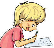 Boy Studying. Cartoon illustration of boy studying seriously Royalty Free Illustration