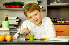 The boy is studying biology Stock Images