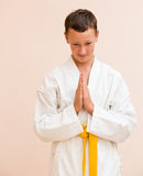 Boy studying martial arts. Folded palm Stock Photos