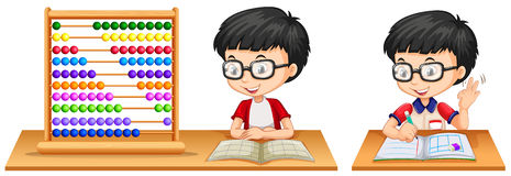 Boy studying math using abacus. Illustration Royalty Free Stock Photos