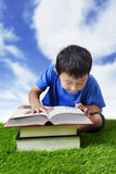 Boy studying outdoor Stock Photos