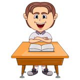 Boy studying with school table cartoon Royalty Free Stock Photography