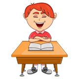 Boy studying with school table cartoon Stock Images