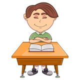 Boy studying with school table cartoon Stock Photography