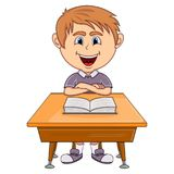 Boy studying with school table cartoon Royalty Free Stock Images