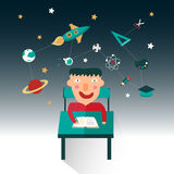 A boy is studying science such as maths, astronomy, and chemistr Stock Photos