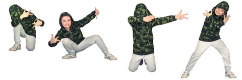 The boy in the style of Hip-Hop . Children`s fashion. royalty free stock photography