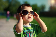 Boy in the Stylish Sunglasses Stock Photography