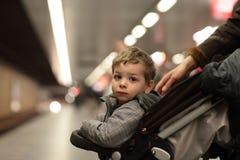 Boy at subway station Stock Photography