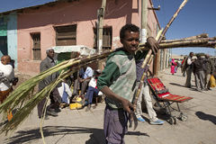 A boy with sugar cane, Ethiopia Stock Photo