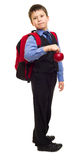 Boy in suit with backpack Stock Photography