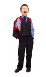Boy in suit with backpack Royalty Free Stock Images