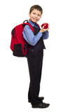 Boy in suit with backpack Stock Photos