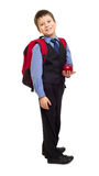 Boy in suit with backpack Royalty Free Stock Image