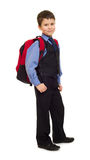 Boy in suit with backpack Royalty Free Stock Photos