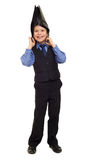 Boy in suit with briefcase on his head Stock Photo