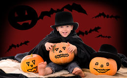 Boy in suit of count Dracula on halloween Royalty Free Stock Photo