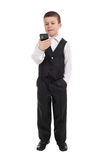 Boy in suit dial on phone Stock Images