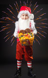 Boy in the suit of gnome. With sweetnesses in hands Royalty Free Stock Photo