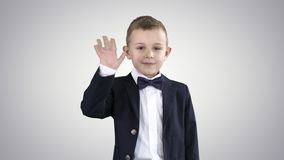 Boy in a suit greeting you Walks in and out on gradient background. Close up. Boy in a suit greeting you Walks in and out on gradient background. Professional stock video