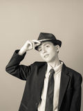 Boy in suit and hat black and white Royalty Free Stock Photos