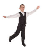 Boy in suit open arms Stock Photo