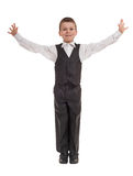Boy in suit open arms Royalty Free Stock Images