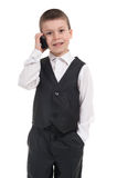 Boy in suit with phone Stock Photos
