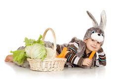 Boy in a suit of a rabbit Royalty Free Stock Images