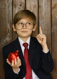 Boy in a suit with a red piggy bank Stock Photos