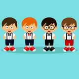 A boy in a suit. Romper suit. Children`s tuxedo. Collection. For boys. Vector illustrationr Royalty Free Stock Image